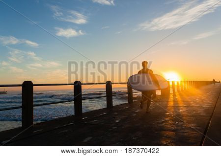 Surfer  Running Pier Sunrise Ocean