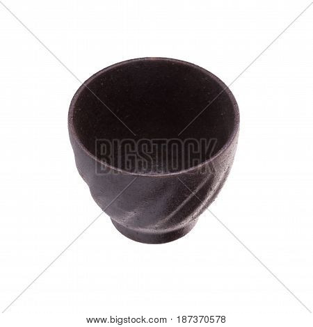 Black Traditional Tea Cup Of Cast Iron Isolated On White Background