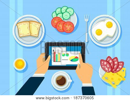Traditional business breakfast concept with hands holding tablet omelette coffee toasts tomato cucumber cheese salami sausage slices isolated vector illustration