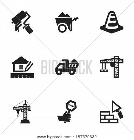 Set Of 9 Editable Building Icons. Includes Symbols Such As Camion, Notice Object, Facing And More. Can Be Used For Web, Mobile, UI And Infographic Design.