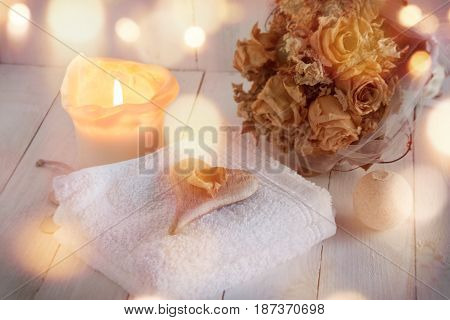 Romantic still life for beauty and wellness in vintage style with bokeh