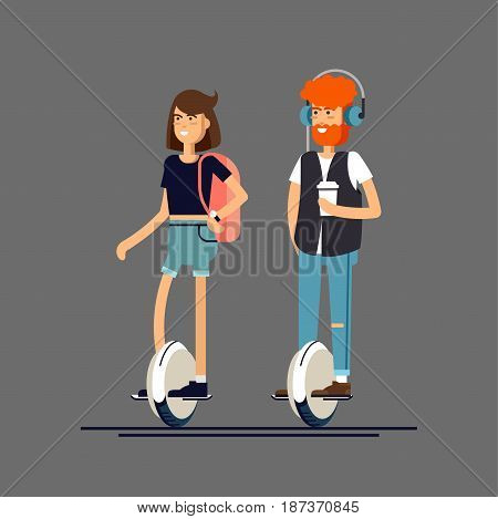 Young man with headphones and coffee paper cup and woman on electric scooter mono wheel. Vector flat illustration of modern device mono wheel, isolated. Mono wheel as urban personal transport