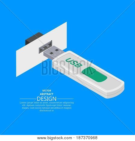 USB memory stick. Electrical connector. 3D style. Flat design. Isometric projection. Modern digital technologies. Computer accessories. Vector three-dimensional illustration. Elements for design.