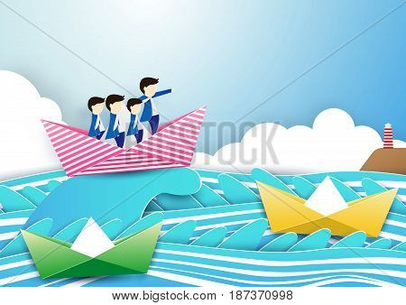 Business team work concept. businessman with leader on boat in the waves sea. Paper art and craft style