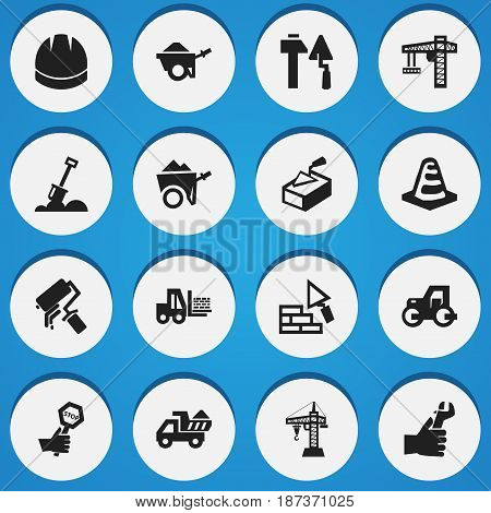 Set Of 16 Editable Structure Icons. Includes Symbols Such As Trolley, Camion, Spatula And More. Can Be Used For Web, Mobile, UI And Infographic Design.
