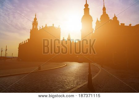 Silhouette of a church in Dresden in the early summer morning