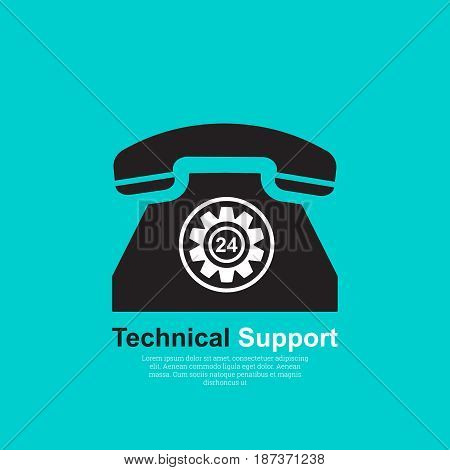 Vector illustration with the concept of technical support. Support service 24 hours. Call acceptance round the clock. Flat style. Call centr