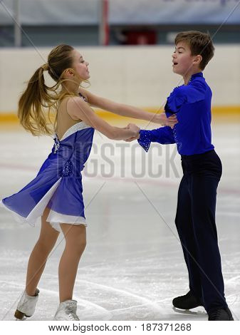 ST. PETERSBURG, RUSSIA - APRIL 18, 2017: Figure skating competitions on prix of St. Petersburg Federation of Figure Skating. 150 athletes from 6 regions of Russia take part in the competitions
