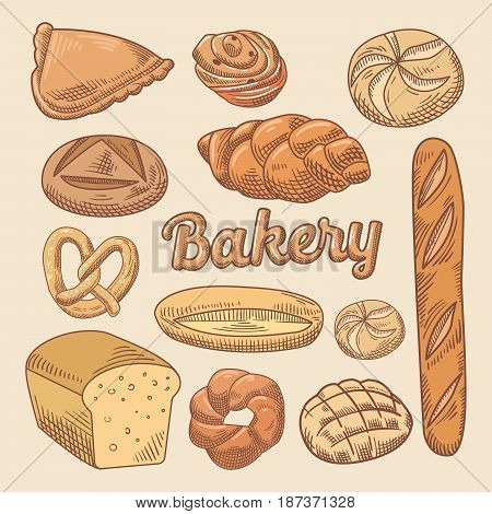 Bakery Hand Drawn Doodle with Different Bread. Vector illustration