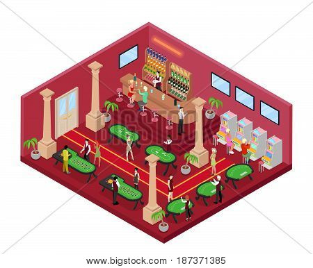 Casino Gambling Interior with Roulette and Croupier. Isometric vector flat 3d illustration