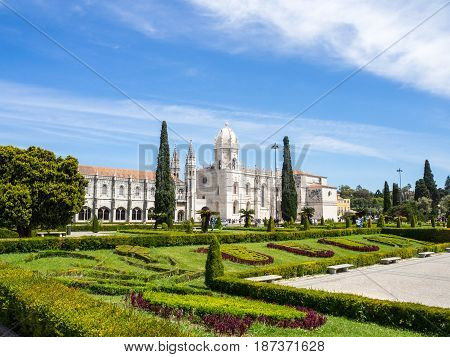 The Jeronimos Monastery Or Hieronymites Monastery Is Located In Lisbon, Portugal