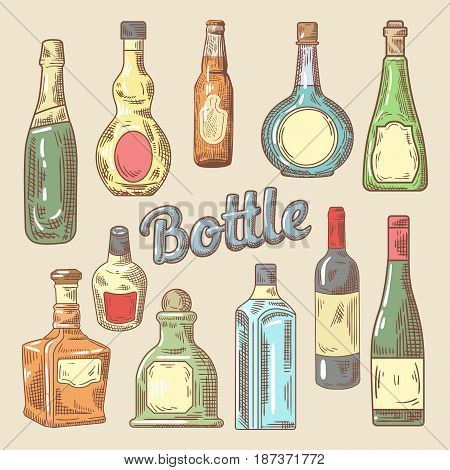 Hand Drawn Set of Different Bottles for Drinks. Vector Doodle