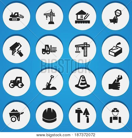 Set Of 16 Editable Structure Icons. Includes Symbols Such As Hardhat , Hands , Elevator. Can Be Used For Web, Mobile, UI And Infographic Design.