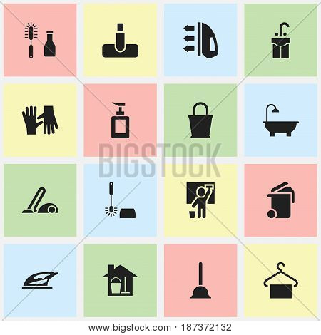 Set Of 16 Editable Hygiene Icons. Includes Symbols Such As Steam, Wc Cleaning, Cleanser And More. Can Be Used For Web, Mobile, UI And Infographic Design.