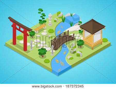 Traditional Japanese Garden with Bridge and Trees. Isometric vector flat 3d illustration