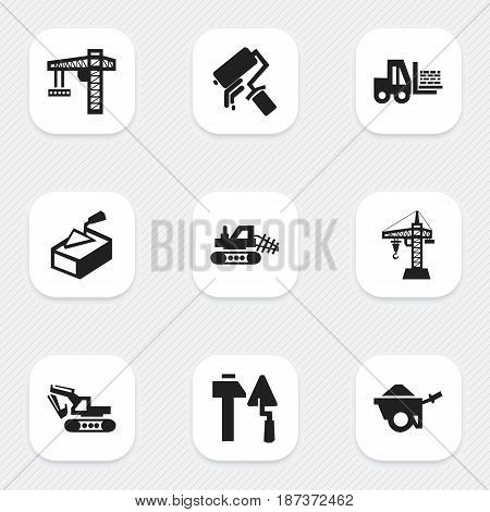 Set Of 9 Editable Structure Icons. Includes Symbols Such As Truck, Elevator, Lifting Equipment And More. Can Be Used For Web, Mobile, UI And Infographic Design.
