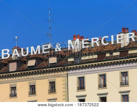 Geneva, Switzerland - 24 September, 2016: Baume & Mercier sign on the roof of a building. Baume & Mercier is a Swiss luxury watchmaker, founded in 1830.