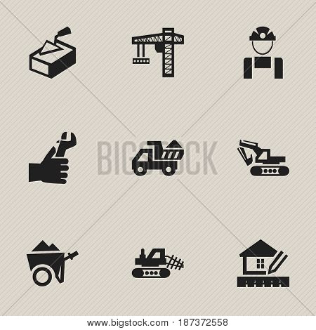 Set Of 9 Editable Building Icons. Includes Symbols Such As Handcart , Spatula , Hands. Can Be Used For Web, Mobile, UI And Infographic Design.