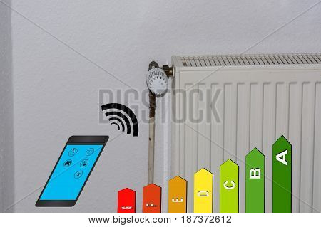 Concept temperature setting Heating via smartphone with Energy efficiency class Symbol. Smart Home Control.