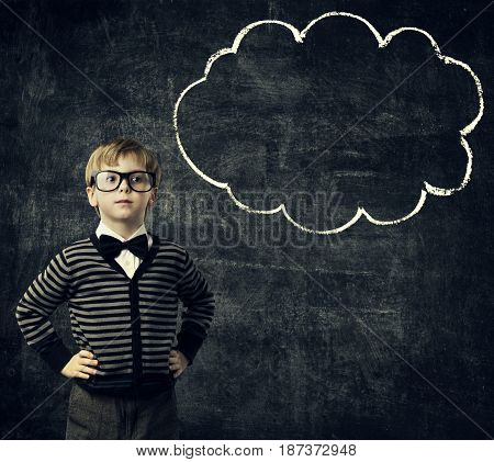 Kid in Glasses Think Bubble over Blackboard Child Boy Thinking School Education Black Background
