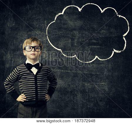 Kid in Glasses Think Bubble over Blackboard Child Boy Thinking School Education Black Background
