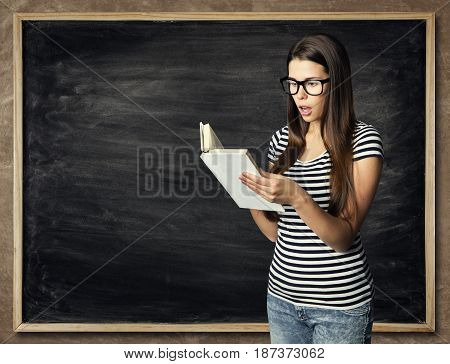 Student Reading Book over Blackboard Background Amazed Young Woman Read Book School Education