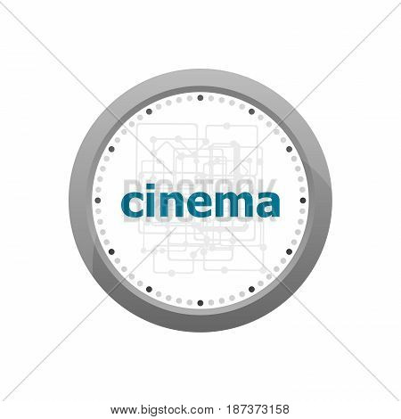 Cinema Word On Digital Screen. Information Concept . Abstract Wall Clock Isolated On A White Backgro