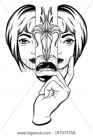 Vector hand drawn surreal illustration of girl hand and lips. Tattoo artwork. Template for card poster banner print for t-shirt coloring book.
