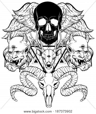 Vector hand drawn surreal illustration. Composition with human skull devil deer ram skull wings. Tattoo artwork. Template for card poster banner print for t-shirt coloring book.