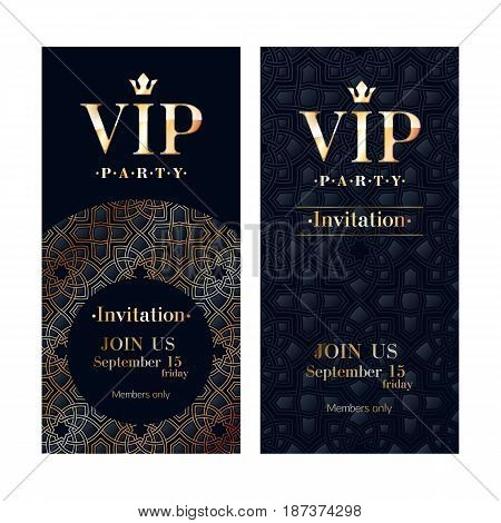 VIP club party premium invitation card poster flyer. Black and golden design template. Arabic oriental pattern decorative vector background.