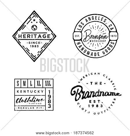 Apparel Labels in vintage style. Perfect for branding projects, apparel design, clothing labels, t-shirt prints and more.
