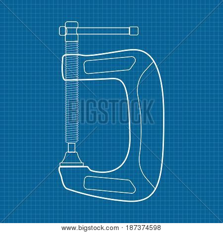 C Clamp Icon. Blueprint Background. Vector illustration.