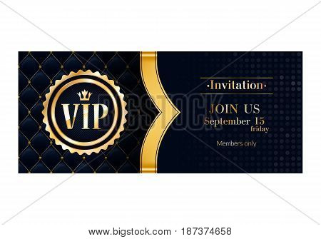VIP club party premium invitation card poster flyer. Black and golden design template. Quilted pattern and golden ribbon vector background.