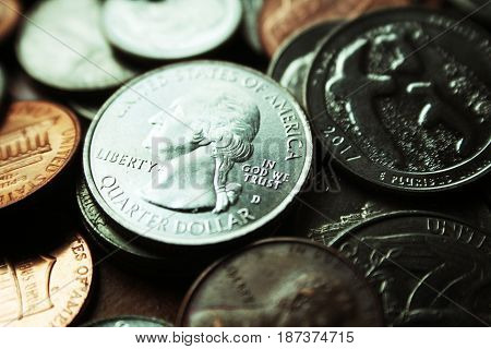 Quarter Close Up High Quality Stock Photo