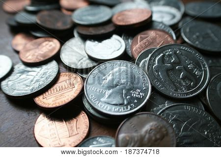 Pennies Close Up High Quality Stock Photo