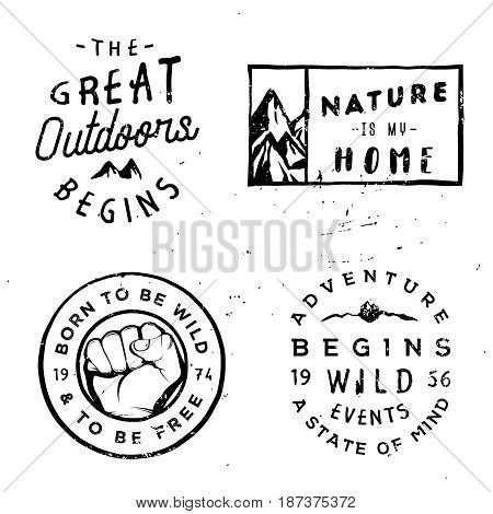 Wanderlust vector logotypes, adventure badges in vintage retro typography style.
