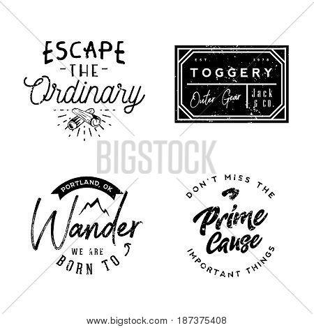 Wear logotypes in vintage style, minimal vintage retro badges and labels