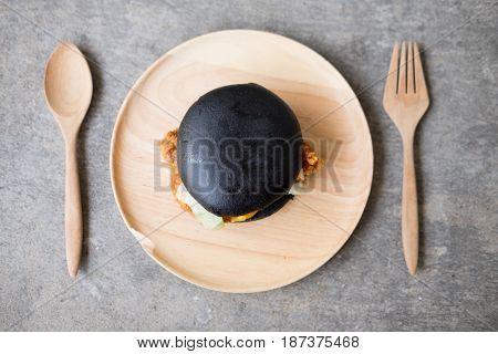 Black hamburger Delicious and gourmet hamburger. Appetizing food