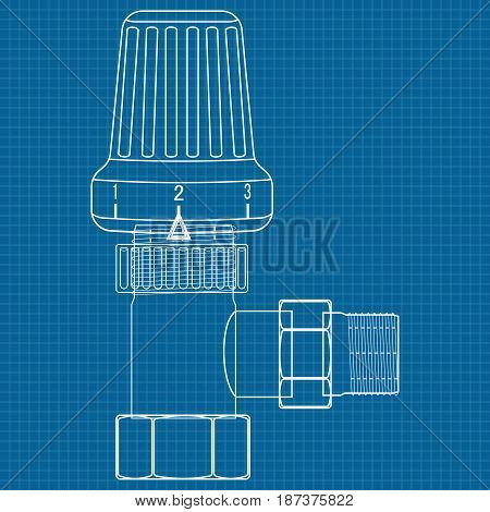 Thermostat. Water valve. Icon. Blueprint Background. Vector illustration.