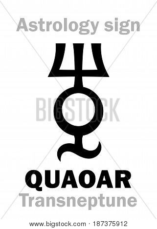 Astrology Alphabet: QUAOAR (Transneptune), Large massive planetoid (TNO). Hieroglyphics character sign (single symbol).