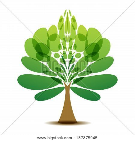 Decorative green tree logotype on white background