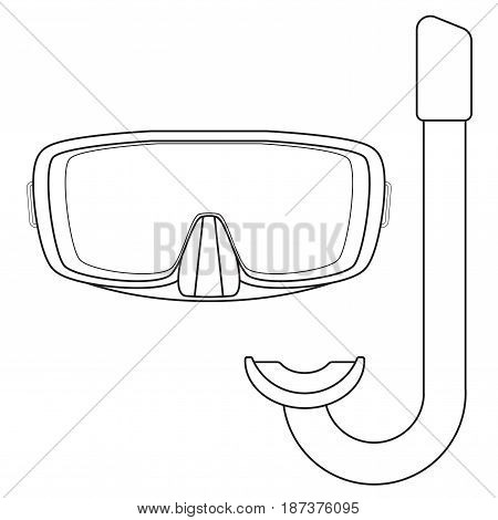 Dive Mask and tube for diving. icon. Vector illustration isolated on white background