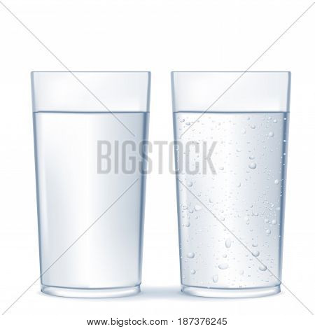 Glass of water and sparkling water. Vector isolated on white background. Illustration.