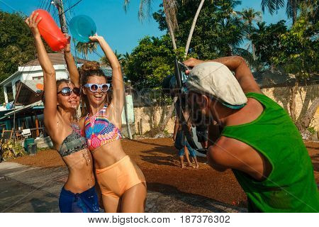 13 April 2016, Ko Phangan, Thaland: people joins celebrations of the Thai New Year or Songkran in Ko Phangan on Apr 13, 2016
