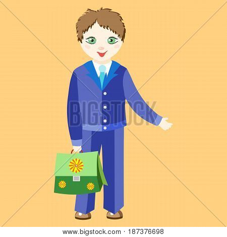 Boy schoolboy in uniform with a green Girl schoolgirl in uniform with blue bows holding a pink schoolbag. Character in the cartoon style. Image in a flat style on a orange background.