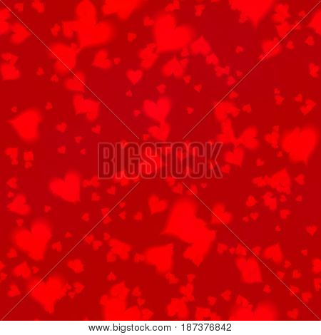 bokeh seamless shinning background with hearts in different sizes irregularly scattered on dark red background