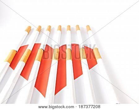 Heart imprisoned by cigarette bars on a white background.