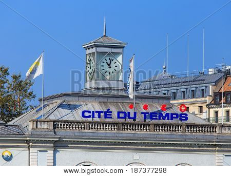 Geneva, Switzerland - 24 September, 2016: upper part of the Cite du Temps building. Cite du Temps is a public exhibition center focusing on the world of time, hosting a wide variety of different exhibitions and activities.