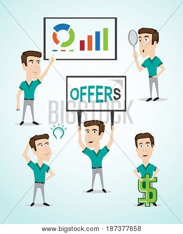 Handsome character for businessman with various actions , searching by magnify glass, Indicate to business screen, thought in new ideas, holds a Billboard, stand with dollar sign.