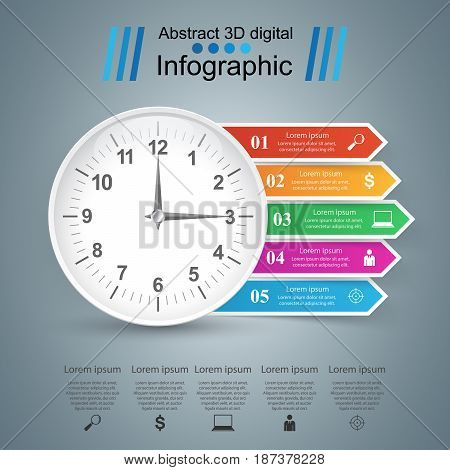 Clock color paper infographics on the grey background